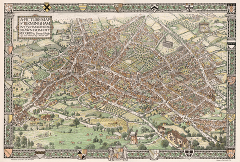 Birmingham Illustrated Map 1730