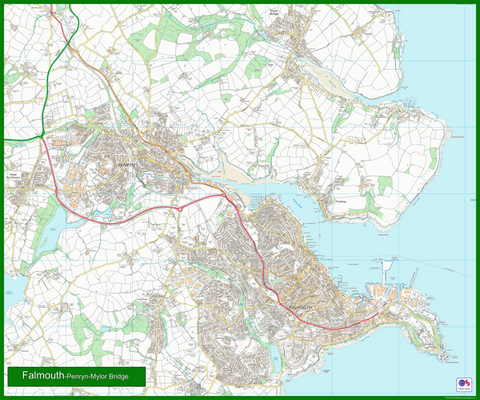 Falmouth, Penryn and Mylor Bridge Coastal Area Map