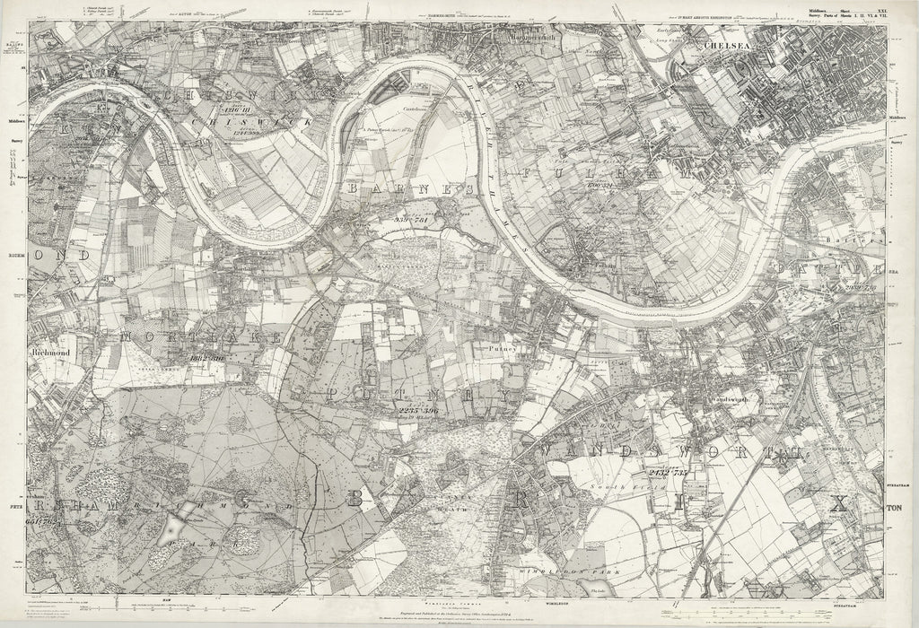 South West London Map.1874 Ordnance Survey 6inch To The Mile Map Of South West London