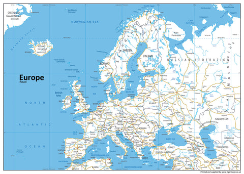 Europe Road Mounted Map