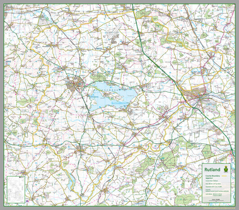 1:100,000 detailed map of the smallest county, Rutland, in the Midlands of England, UK  The map covers Rutland Water, Braunston, Belton, Cottesmore, Exton, Greetham, Ketton, Langham, Lyddington, Martinsthorpe, Normanton, Oakham, Ryhall, Casterton, Uppingham and Whissendine.