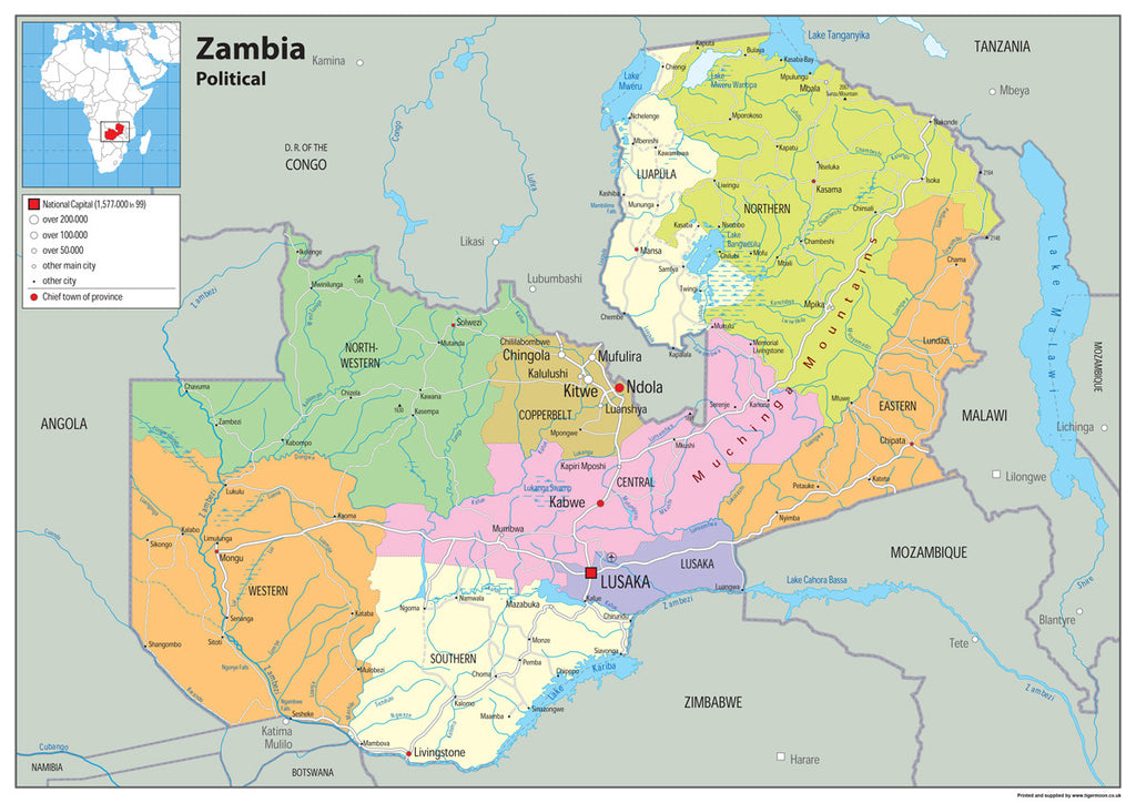 Zambia Political Map I Love Maps