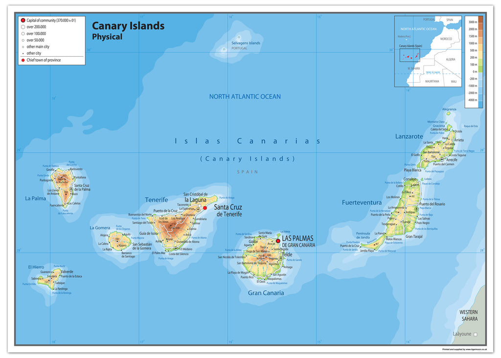 Canary Islands Physical Map I Love Maps