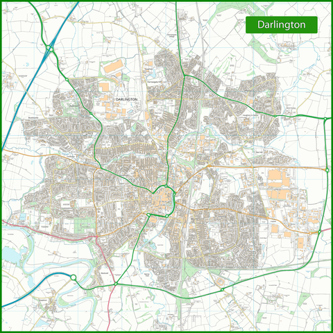 Darlington Street Map - 120 x 120 cm
