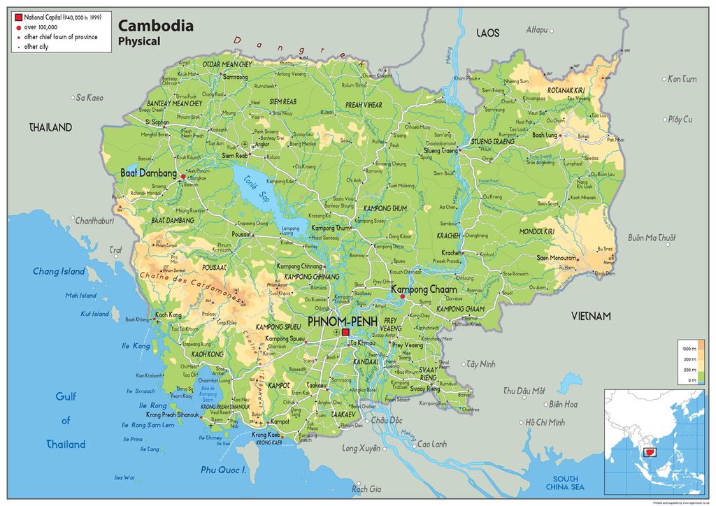Cambodia physical map i love maps cambodia physical map gumiabroncs Images