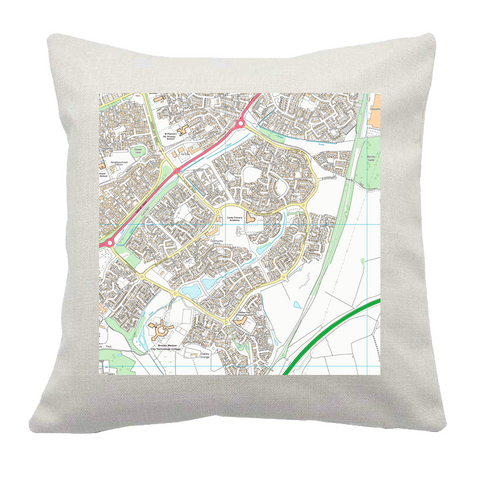 Personalised Postcode Centred Cushion Cover - 2k x 2k Area