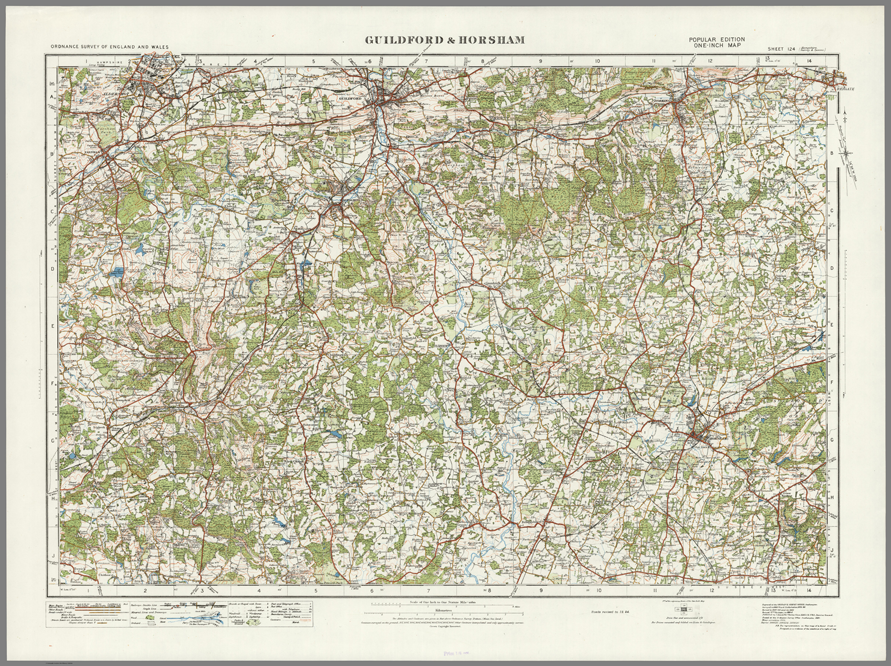 Guilford England Map.Guildford Horsham Ordnance Survey Of England And Wales 1920