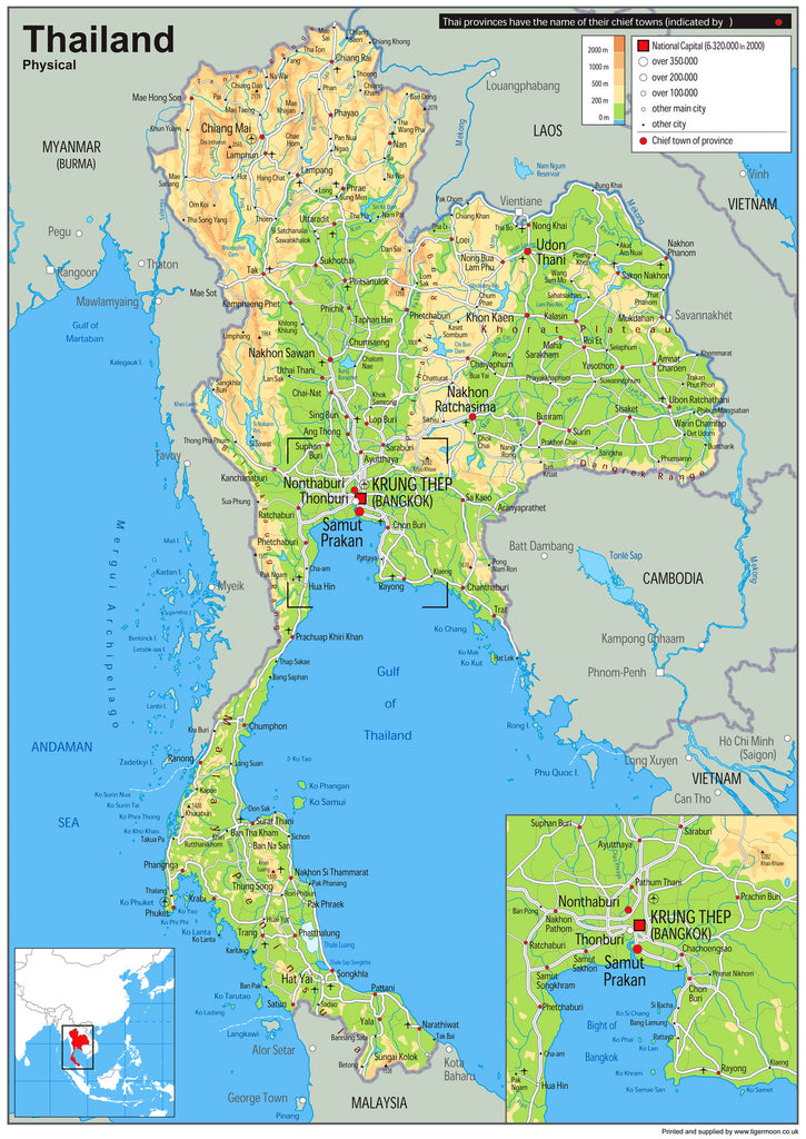 Thailand Physical Wall Map I Love Maps