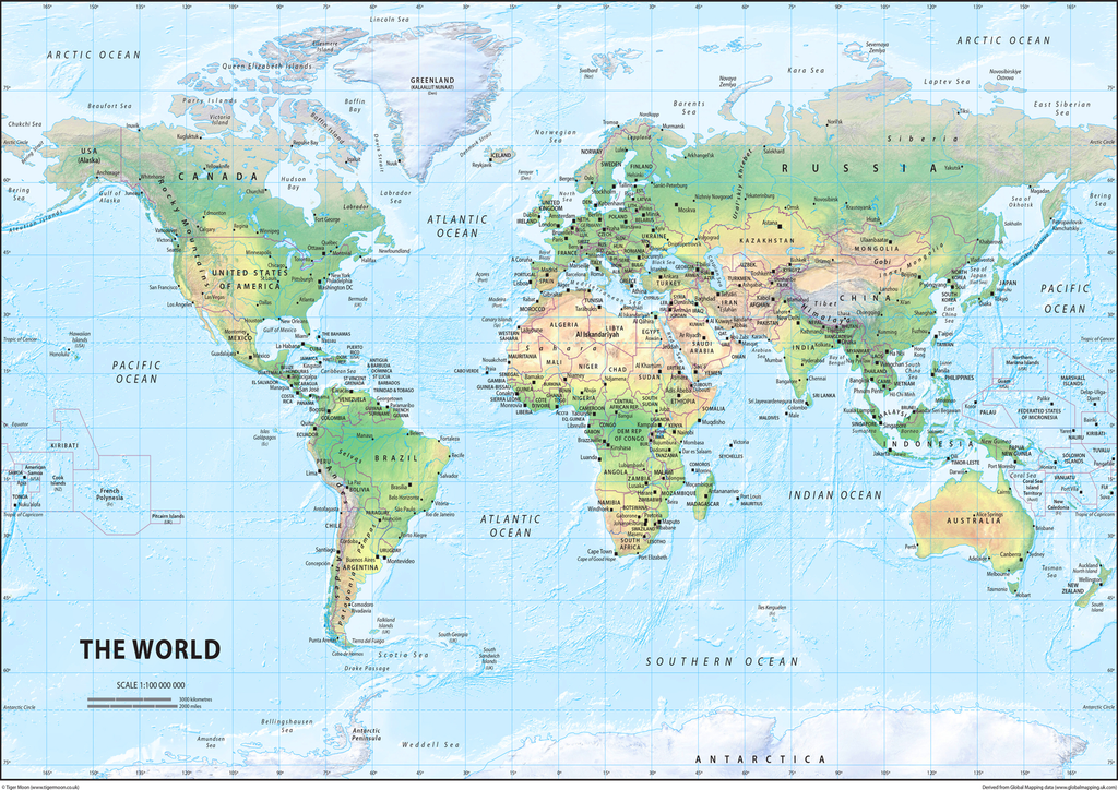 The World Physical Map I Love Maps
