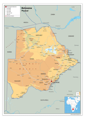 Botswana Physical Map