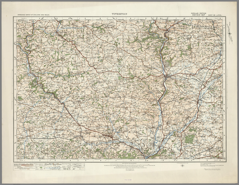 Tiverton - Ordnance Survey of England and Wales 1920 Series