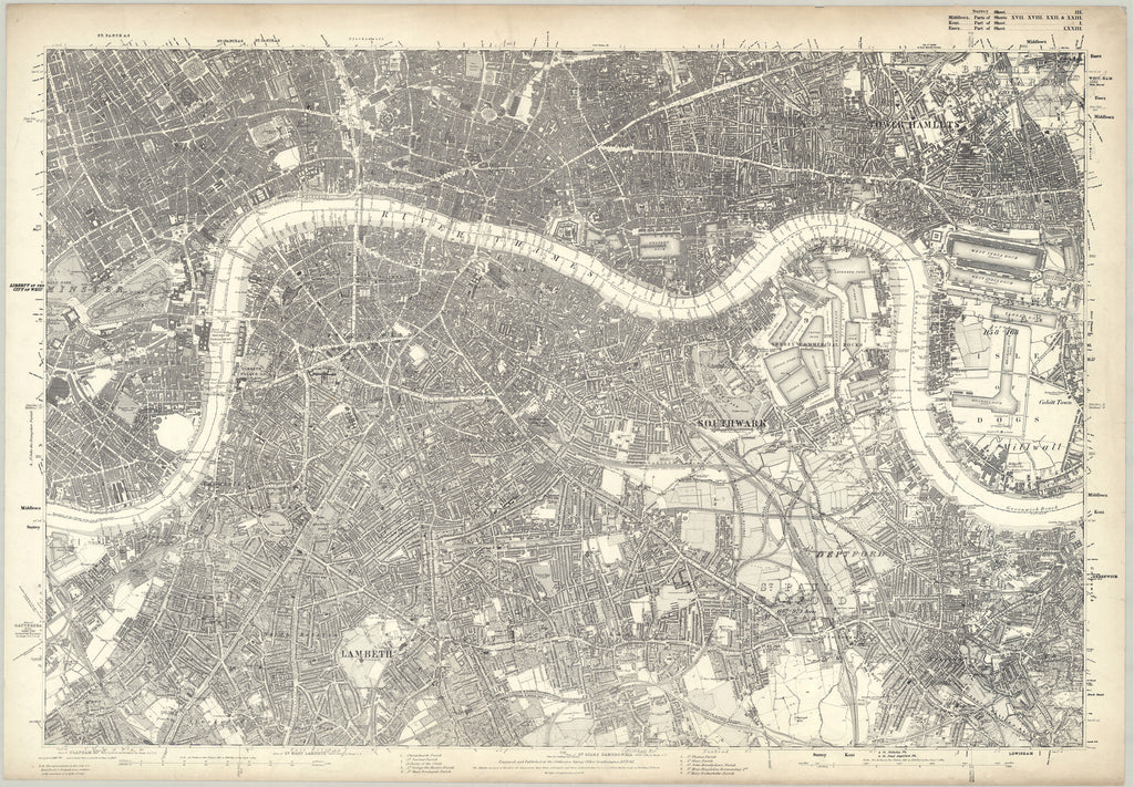 1872 map of south london ordnance survey 110560 scale