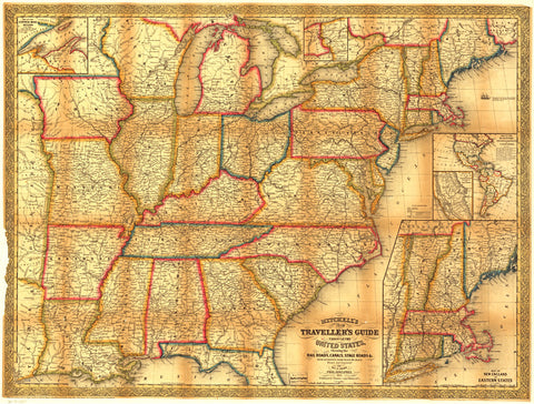 Mitchells Traveler's Guide To The Eastern US 1853 Map