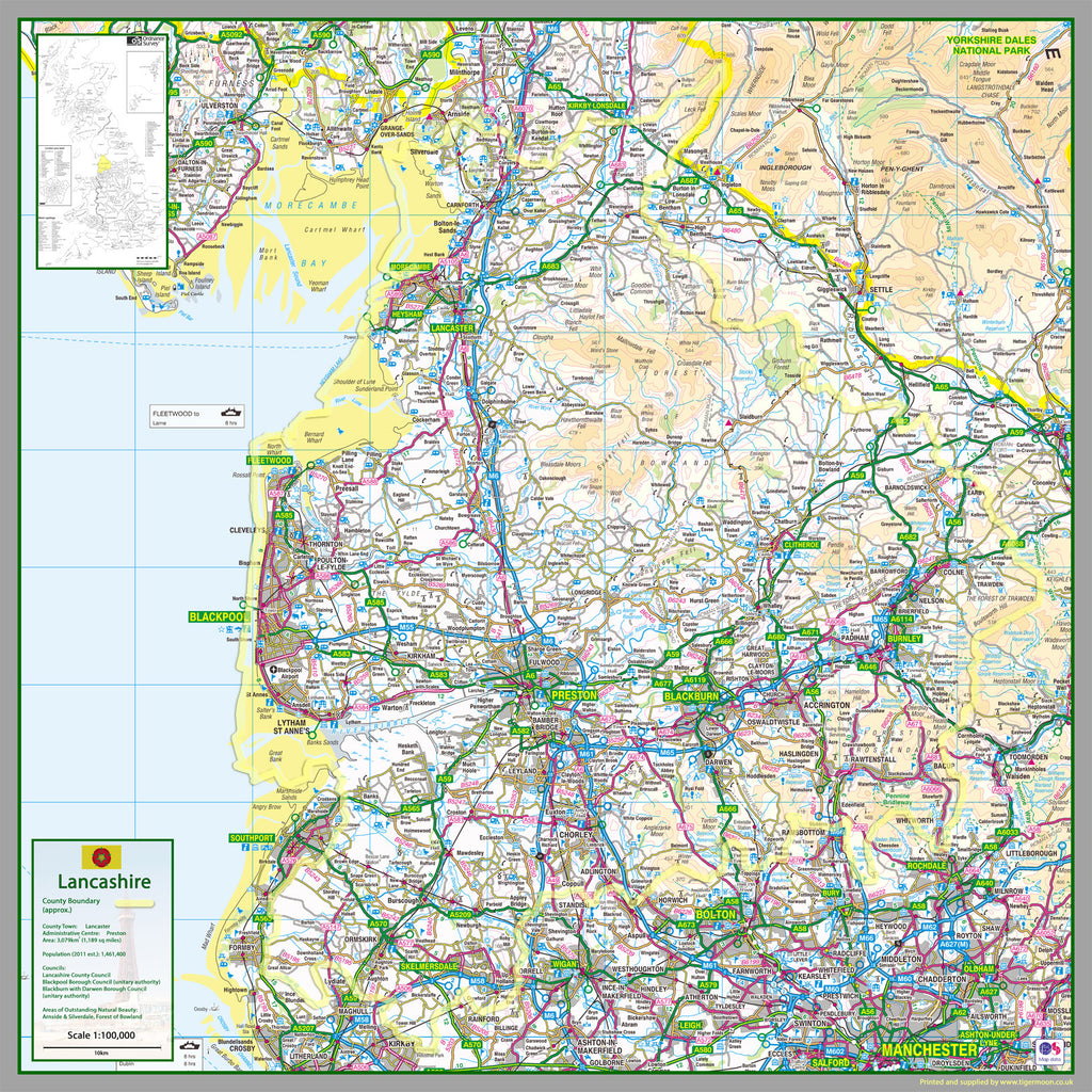 Maps And Directions: Lancashire County Map
