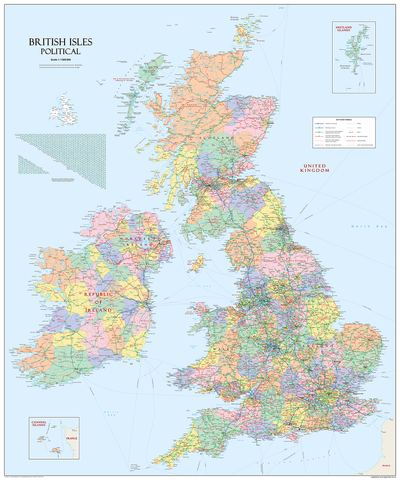 Giant British Isles Political Map - (150 x 180 cm / 1.5 x 1.8 m)