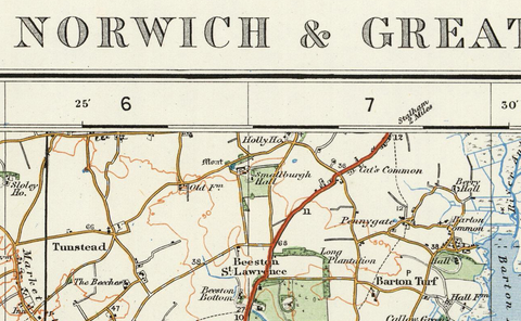 Norwich & Great Yarmouth - Ordnance Survey of England and Wales 1920 Series