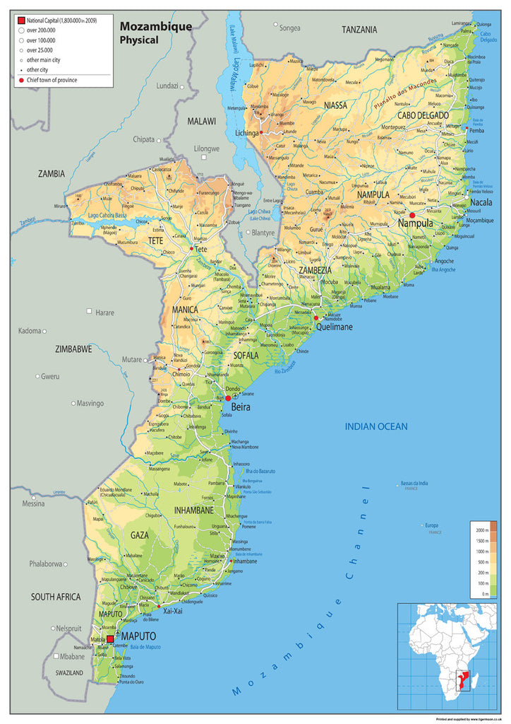 Mozambique Physical Map I Love Maps