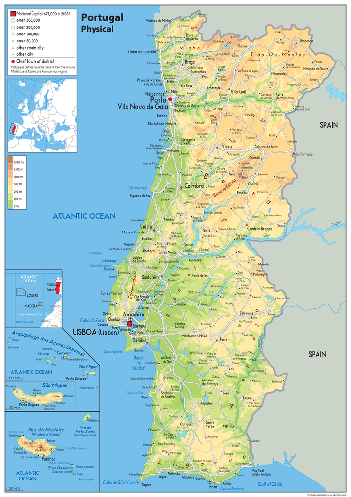 Picture of: Paper Laminated Portugal Physical Map A1 Size 59 4 X 84 1 Cm Konozsigns Com