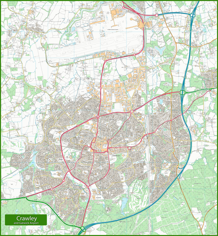 Crawley and Gatwick Airport Street Map