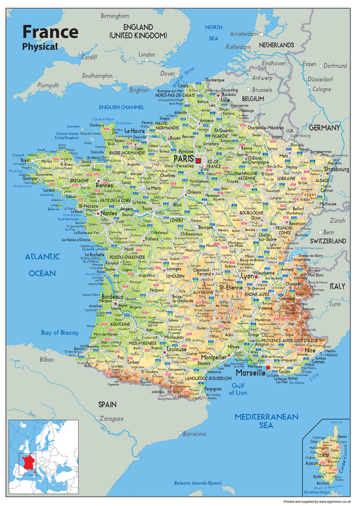 France Physical Map I Love Maps