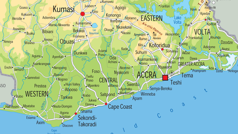 Ghana Physical Map