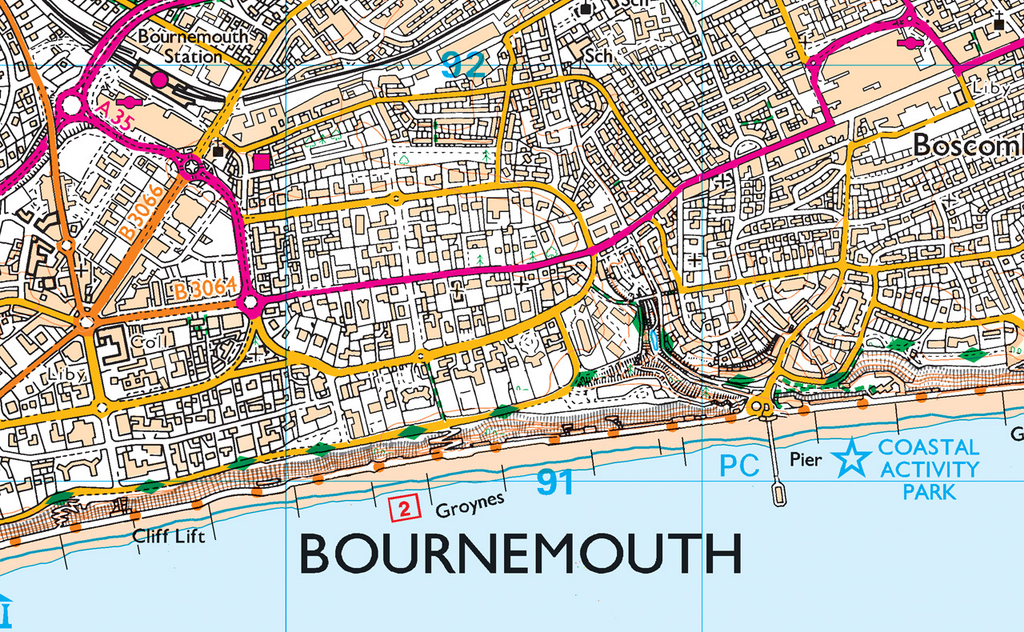 Map Of Bournemouth Bournemouth and Poole Harbour Coastal Area Map   I Love Maps Map Of Bournemouth