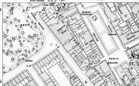 1916 Holborn Ordnance Survey Map