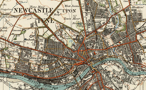 Newcastle upon Tyne - Ordnance Survey of England and Wales 1920 Series