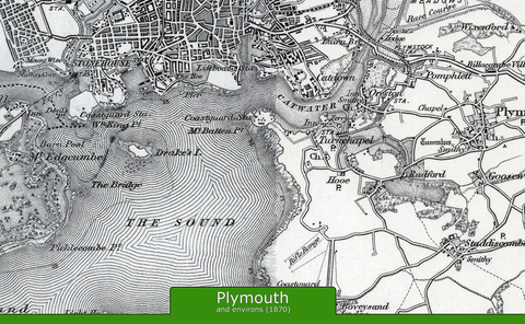 Plymouth and Environs Ordnance Survey Map 1870