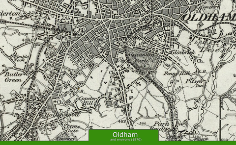 Oldham and Environs Ordnance Survey Map 1870
