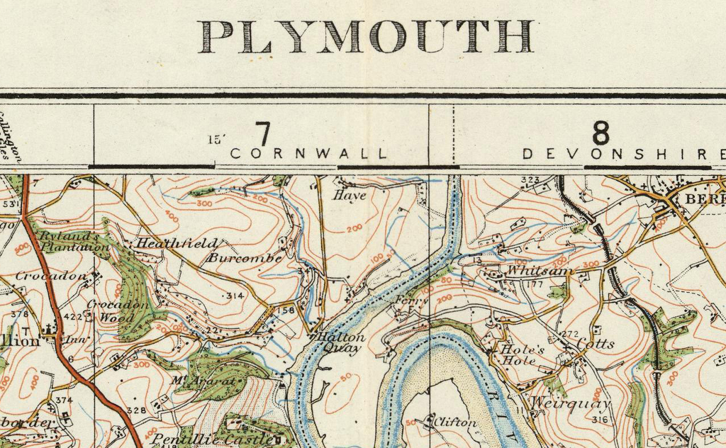 Plymouth Ordnance Survey Of England And Wales 1920 Series I Love