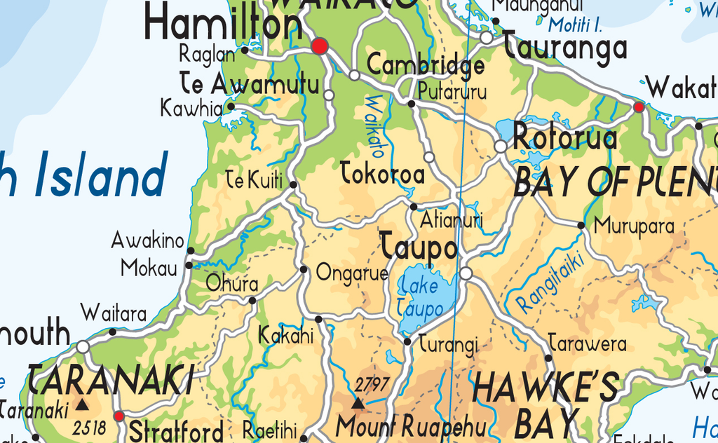 Physical Map Of New Zealand.New Zealand Physical Map I Love Maps