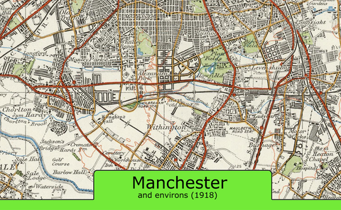 Manchester and Environs Ordnance Survey Map 1920