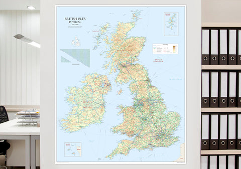 British Isles Physical Mounted Map