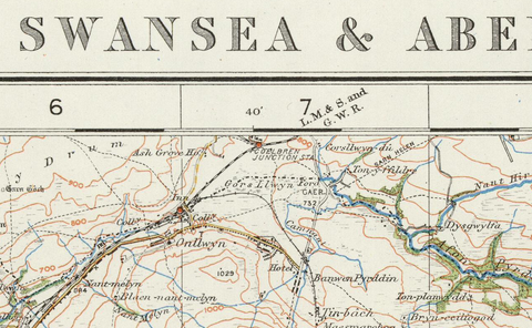 Swansea & Aberdare - Ordnance Survey of England and Wales 1920 Series