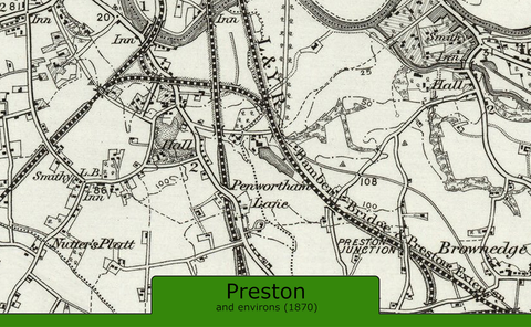 Preston and Environs Ordnance Survey Map 1870
