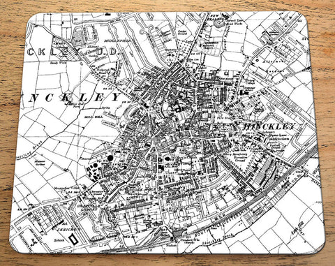 19th Century Personalised Set of Four Gift Placemats - Ordnance Survey 1:10,560 Map Centred on Your Postcode