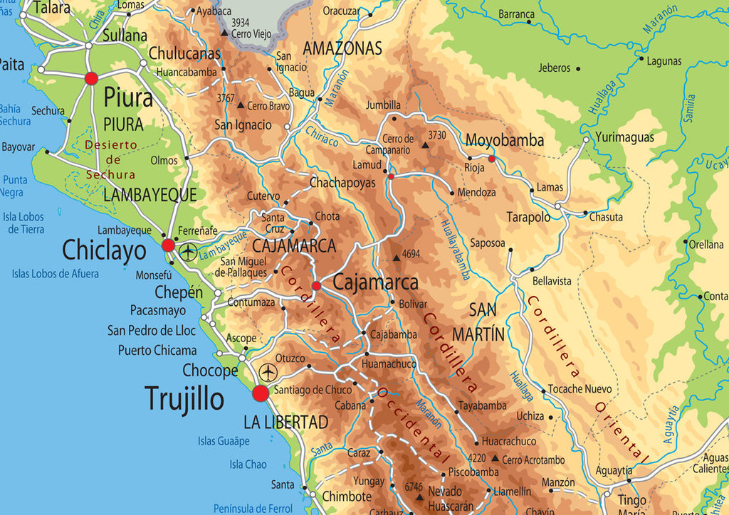 Image of: Peru Physical Map I Love Maps