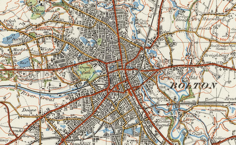 Bolton & Manchester - Ordnance Survey of England and Wales 1920 Series