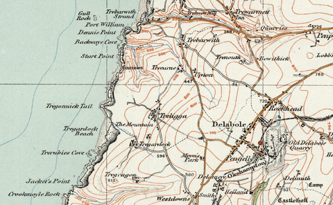 Boscastle & Padstow - Ordnance Survey of England and Wales 1920 Series