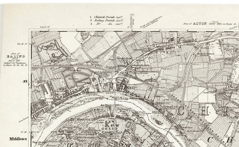 1870 Map of South West London - Ordnance Survey 1:10,560 Scale
