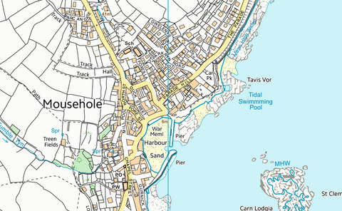 Penzance, Newlyn and Mousehole Coastal Area Map