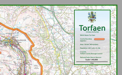 Torfaen County Map