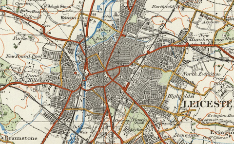 Leicester - Ordnance Survey of England and Wales 1920 Series