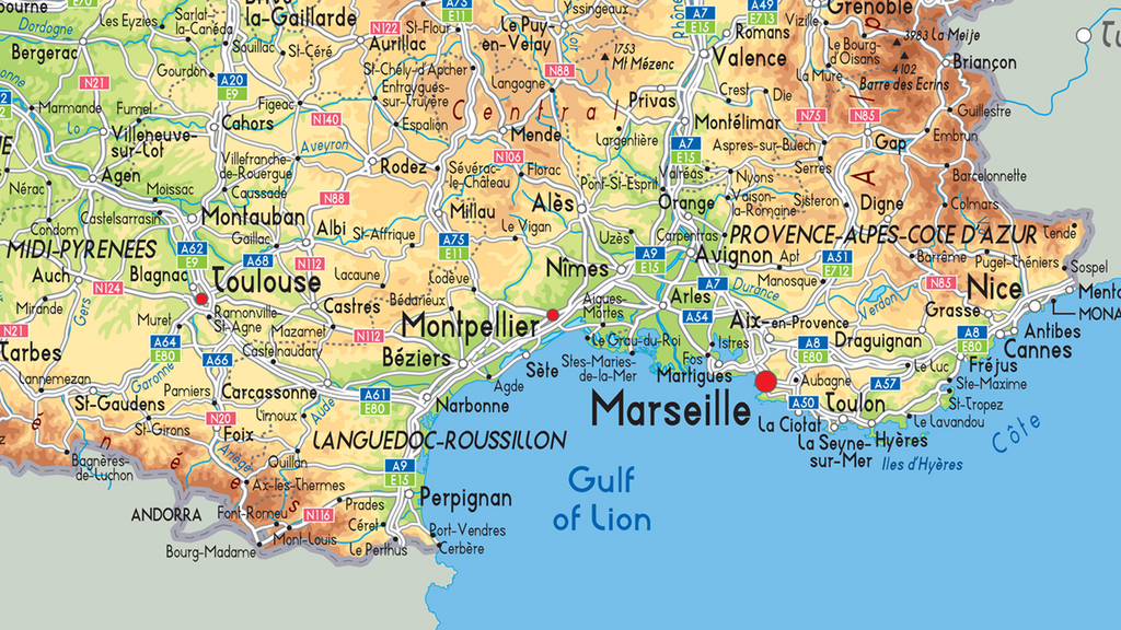 France Physical Map | I Love Maps