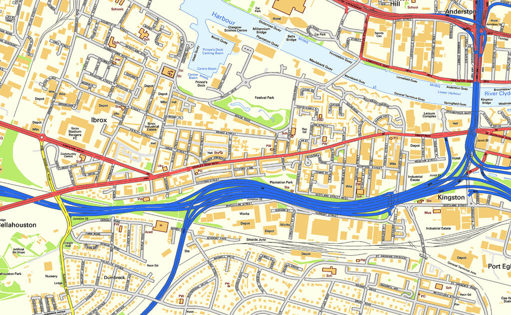 Glasgow City Centre Street Map I Love Maps