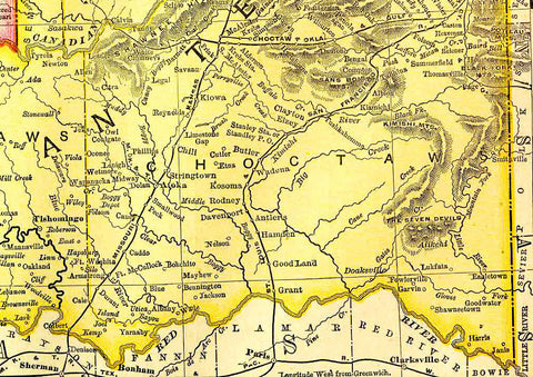 Western Portion of Oklahoma 1895 Map