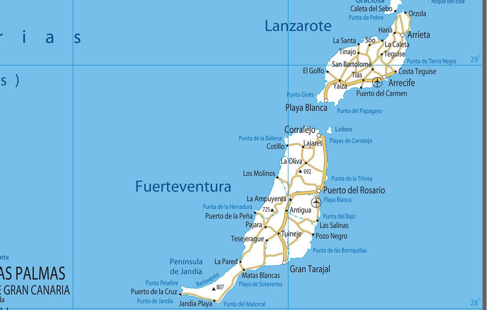 Canary Islands Road Map | I Maps on