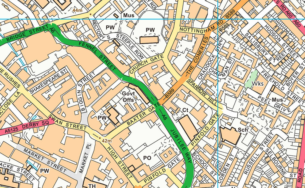 Loughborough Smaller Street Map | I Love Maps