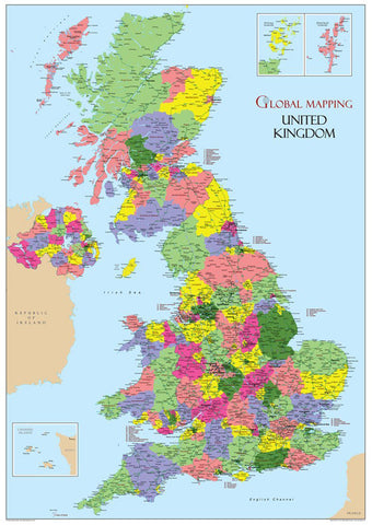United Kingdom Political Wall Map [GM]